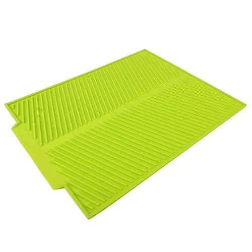 Almohadilla de silicona - Tapete para secar platos extra grande Almohadilla de silicona resistente al calor de primera calidad(Verde)