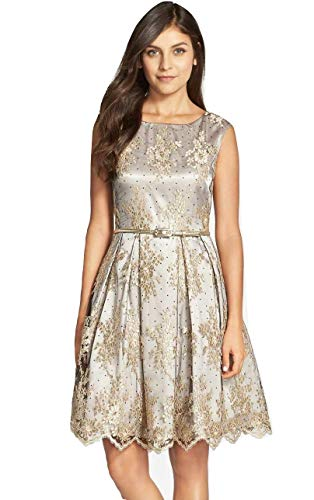 Eliza J womensEJ6M8752Embroidered Lace Fit & Flare Sleeveless Dress - Gold - 14