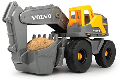 Dickie Toys 203724003 On-site Volvo Schaufelbagger, mit beweglicher Schaufel und Schaufelarm, offene Kabine drehbar, 26 cm, gelb/grau