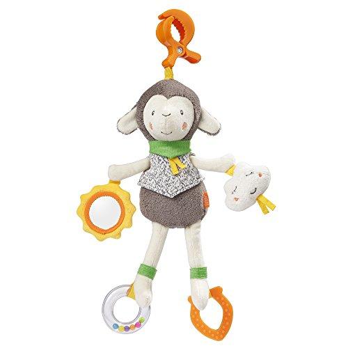 Fehn 061086 Activity-Spieltier Schaf | Motorikspielzeug zum Aufhängen mit Spiegel & Ringen zum Beißen, Greifen und Geräusche erzeugen | Für Babys und Kleinkinder ab 0+ Monaten