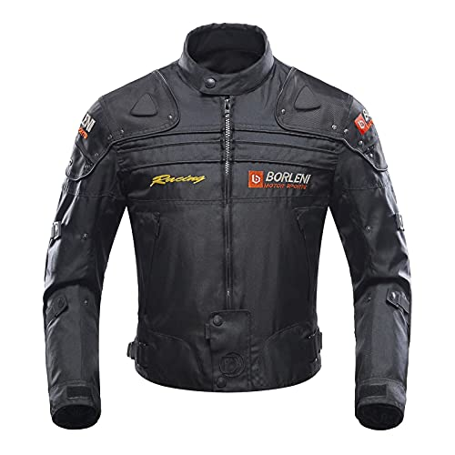 Motorcycle Jacket Motorbike Riding Jacket Windproof Motorcycle Full Body Protective Gear Armor Autumn Winter Moto Clothing (Black,M)
