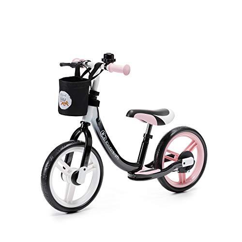 Kinderkraft Laufrad SPACE, Lernlaufrad, Kinderlaufrad, Lauflernrad für Kinder, Baby Kinderrad mit Zubehör, Klingel, Tasche für Kleinigkeiten, Handbremse, Fußstütze, 12 Zoll Räder, ab 2 Jahre, Rosa