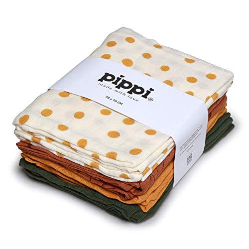 Pippi Mullwindeln Set ❁ Spucktücher 8er Pack Stoffwindeln + GRATIS 1 Halstuch Wimpel (Maisgelb Dots)
