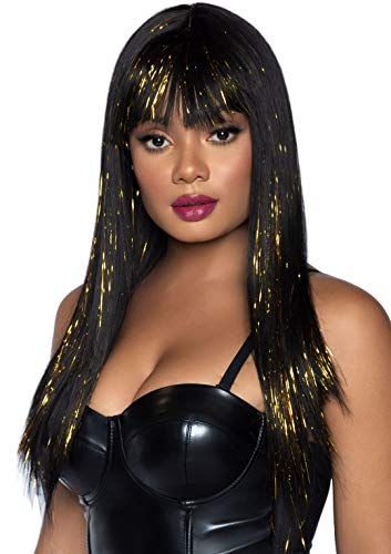 Leg Avenue Women's 24 inch Long Straight Tinsel Wig with Bang, Black/Gold, O/S