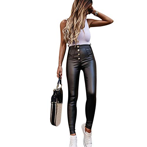 WHUPLK Lederhosen,Kunstlederhose Frauen Hose mit hoher Taille Knopf Bleistifthose PU-Ledergamaschen Unten Elastische Röhrenhose Schlanke Hose, Schwarz, XL