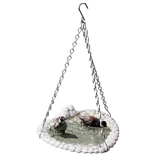 Vogeltränke mit 2 Vögelchen 25x24xH8cm zum Aufhängen, Creme, Vogelbad Wasserstelle Futterschale Wasserschale