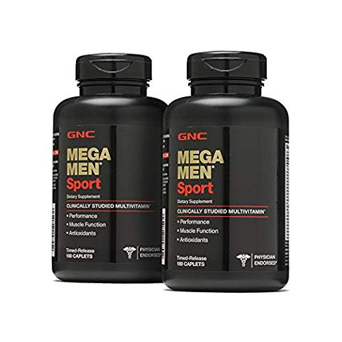 GNC Mega Men Sport Multivitamin, Twin Pack, 180 Caplets per Bottle, Increases Performance and Muscle Function