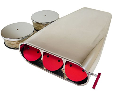 Motornets Polish Aluminum 4BBL Smooth Red Butterfly Hood Air Scoop Single/Dual Bug Catcher