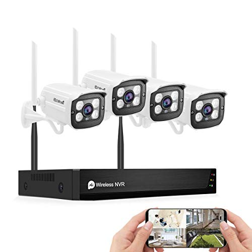 Kit telecamera di sorveglianza a 8 canali audio e video Wi-Fi H.2654 Telecamere IP wifi 1080P con rilevamento del movimento per visione notturna a infrarossi da 200 piedi (con disco rigido da 1TB)