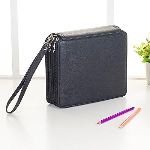 Haosen 120 colori Sacchetto della Matita Astuccio scuola Studente pittura schizzo a matita astuccio portamatite - Multifunzione Cuoio Multistrato Zipper borsa Sketch (Nero)