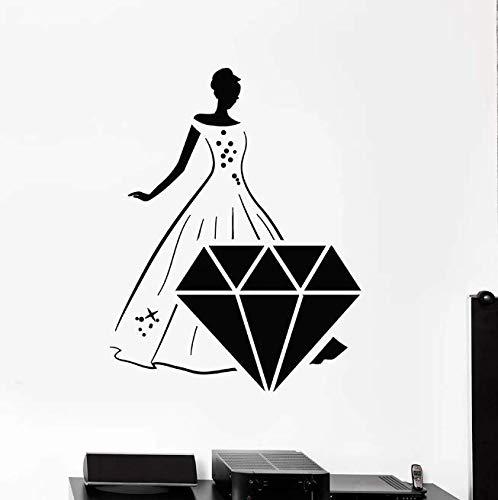 Hermoso vestido de niña calcomanías de pared bonitas pegatinas de vinilo de piedras preciosas de diamantes el centro comercial tienda de joyas decoración interior papel tapiz 73 * 57Cm