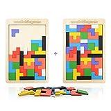 Herefun Puzzle Tetris de Madera, 2Pcs Tangram Jigsaw Rompecabezas Madera Juego Educativo, Puzzle Tangram Juguetes Juego de Cerebro Bloque de Construcción Inteligencia Regalo Educativo para Niños