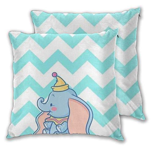MISS-YAN Dumbo - Funda de cojín decorativa para cama, silla, sofá, 2 unidades