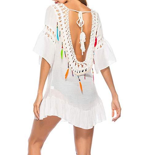 DNFC Strandkleid Damen Sommerkleider Sexy Rückenfrei Kurzarm Strand Kleider Luftig Beach Kleid Kurz Badekleid Bikini Cover Up Strandbluse Strandkleider für Urlaub (Weiß, One Size)
