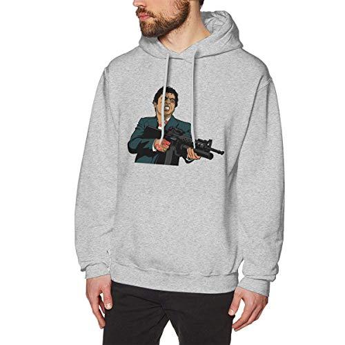 DDECD Herren Hoodie Kapuzenpullover Rebeccarcarter Breathable Scarface Men's Cotton Graphic Hoody Gray Long Sleeve Sweatshirt