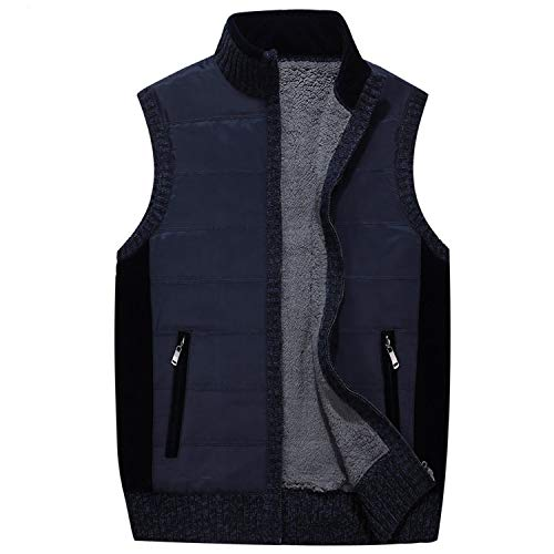 Knitting Sweater Vest Plus Velvet Thicken Zipper Male Casual Men Turtleneck Sweater,Dark Blue,XXXL