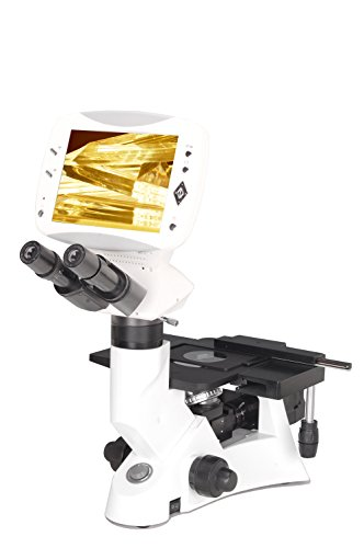 BestScope BLM-600B Digital Inverted Metallurgical Siedentopf Binocular Compound Microscope with 9' HD LCD, EWF10x Eyepieces, Infinity Plan Objectives, 40x-400x Magnification, Brightfield Halogen Illumination, Polarization Attachment, Plain Stage, 12VDC (90V-240V Input), Includes 5.0MP Camera