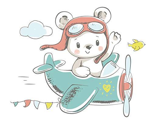 madras24 Wandsticker für Kinder Wandtattoo Aufkleber Wandaufkleber Kind Baby Kindergarten Zimmer Flugzeuge Bären Teddybär Wolken Wolke Wanddeko Baby Kinder Sticker