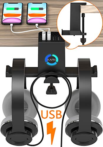 RGB Headphone Stand Hanger with USB Charger, KAFRI Under Desk Dual Headset Holder Earphone Hook Mount Rack with 4 USB Charging Ports, PC Gaming Desk Accessories for Men