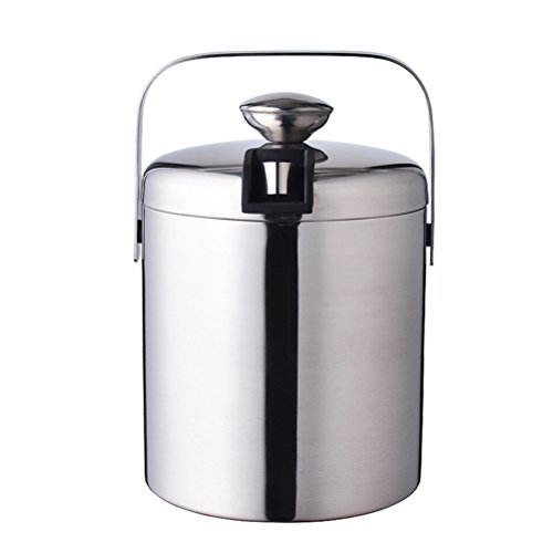 BEST ON ZON Ice Bucket 1300ML Wine Barrel Stainless Steel Drinks Cooler Champagne Bucket Double Layers