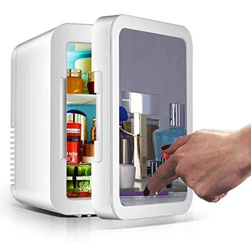 MZBZYU Mini Nevera Cosmético, 8 litros Maquillaje Nevera con Espejo Iluminación LED, Coche De Refrigerador para Maquillaje y Cuidado La Piel, Casa Bar