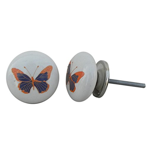 4 piezas de cerámica artesanal Indianshelf Mariposa Azul Kids cajón archivador pomos de puertas armario APARADOR Aparador tira de nuevo en línea