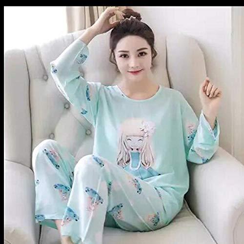 Handaxian Neue Frauen Pyjamas Set Herbst und Winter Ärmel Dünnschliff Karikaturdruck süße lose beiläufige Pyjamas Frauen 3 XL