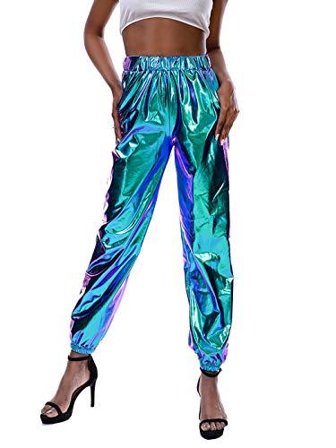 Zaxicht Women's Metallic Shinny Pants, Casual Holographic Jogger Sweatpants Punk Hip Hop Trousers Streetwear (Blue, S)