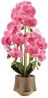 Large Artificial Orchid Phalaenopsis Arrangement Flower Bonsai with Golden Vase Table Centerpiece (pink2)