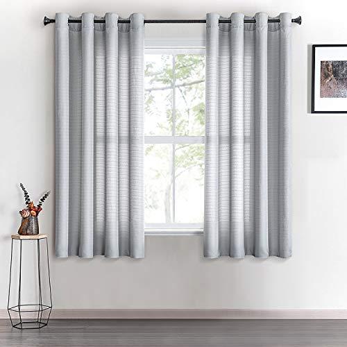 Topfinel Voile Vorhänge mit Ösen Halbtransparent Gardine Leinenstruktur Garn Muster Fensterschal für Zimmer, Büro, 2er Set 160x140 (HxB) Grau