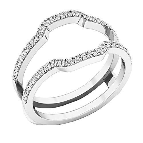 0.33 Carat (ctw) Round Diamond Ladies Wedding Band Enhancer Guard Ring 1/3 CT, 10K White Gold, Size 5.5