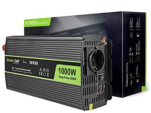 Green Cell 1000W/2000W 12V 220V/230V Onda Pura Inverter Invertitore di Tensione Fotovoltaico DC AC per Camper Auto Convertitore di Potenza, Trasformatore sinusoidale Pura Porta USB per Batteria Auto