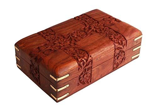Ajuny - Joyero de madera tallado a mano, organizador de recuerdos y objetos pequeños, hecho a mano, elemento decorativo ideal como regalo