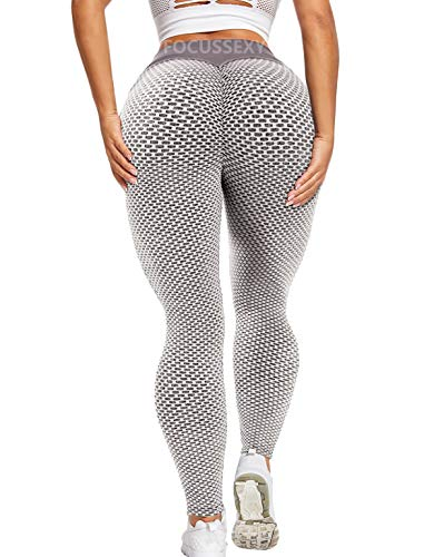 FOCUSSEXY Women High Waist Butt Lifting Yoga Pants Tummy Control Scrunch Booty Leggings Anti Cellulite Workout Tights