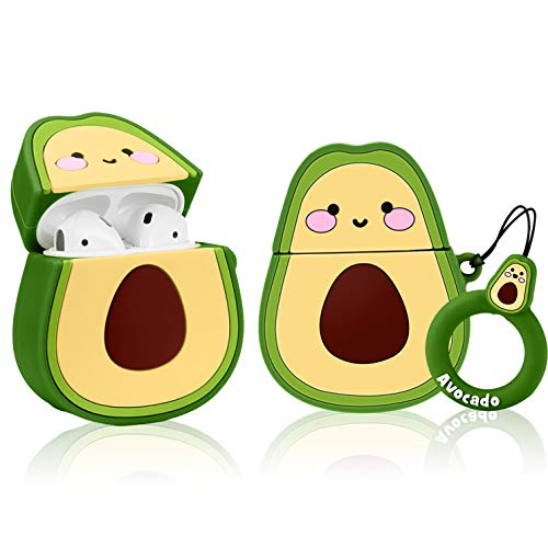 Gukis Compatible with Airpods 1/2 Case, Cute 3D Cartoon Kawaii Fruit Character Silicone Shockproof Cover Designer Skin Kits, Cool Fun Funny Fashion Case for Girls Kids Teens Air pods (Avocado)