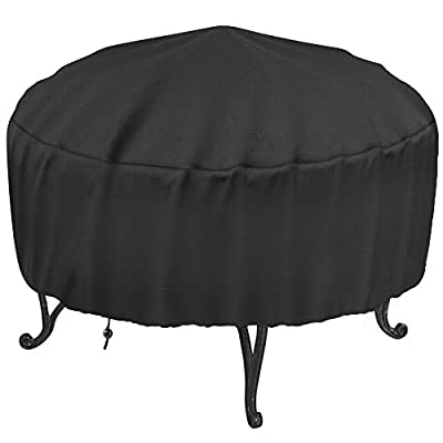 """Samhe 30-Inch Fire Pit Cover for 28-32 inch Round Fire Pit, Heavy Duty 300D Oxford Fabric Waterproof Dustproof Fire Bowl Cover All-Season Protection 32"""" Dia x 16"""" H"""