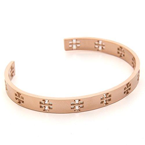 Tory Burch Bracelet Pierced T Cuff TB Logo Rose Gold