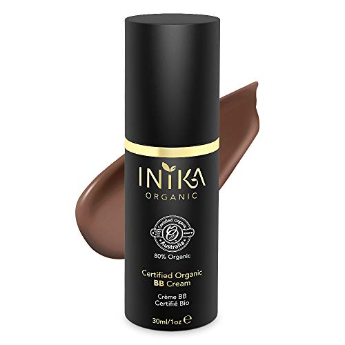 INIKA Certified Organic BB Cream, Vegan, 100% Natural, 3 in 1 Silky Primer, Skin Care Tinted Moisturizer Foundation, Hypoallergenic & Dermatologist Tested, 1 oz (30ml) (Cocoa)