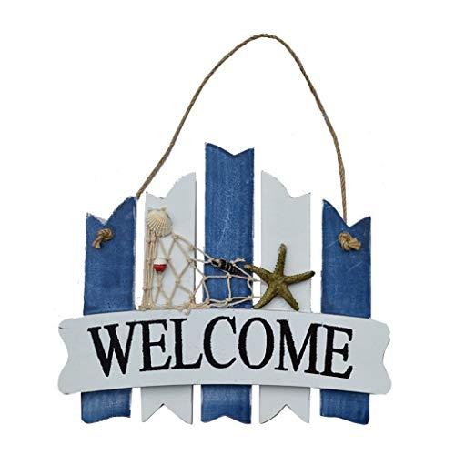 LXJ Hausnummer, Wandschild, Doppelseitige, Dekorative Adressklammer, Mediterranes Willkommenswanddekorationswanddekorationsausgangsspeicher-Zeichenhängen (Color : A)