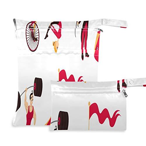 Circus Elements Set Carpa Monkey On Bike Air Gym Bolsa para traje de baño húmedo Impermeable Dos bolsillos 11.8 × 14.2 Pulgadas y 5.9 × 8.7 Pulgadas Bolsas con cremallera Organizador impermeable Bols