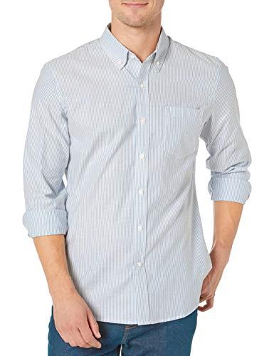 Goodthreads Standard-fit Long-Sleeve Stretch Oxford Shirt (All Hours) Camisa abotonada, Denim Blue Bengal Stripe, L Tall