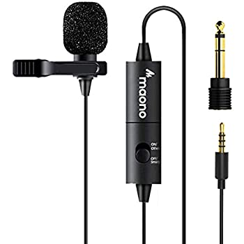 Lavalier Microphone MAONO AU-100 Hands Free Clip-on Lapel Mic with Omnidirectional Condenser for Podcasting Recording DSLR Camera Smartphone PC Laptop  236in