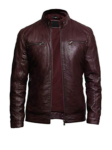 BRANDSLOCK Mens Leather Jacket Genuine Lambskin Moto Biker Slimfit Burgundy (3X-Large)