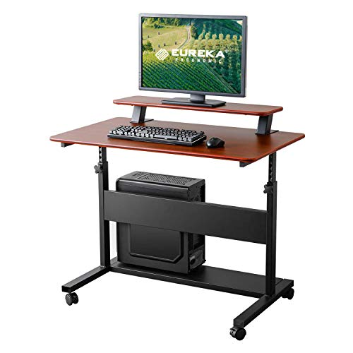 Eureka Ergonomic Adjustable Desk, 41' Height Adjustable Standing Computer PC Desk Table with Lockable Wheels, Home Office Ergonomic Stand Up Workstation with Hutch & CPU Stand, Teak Top