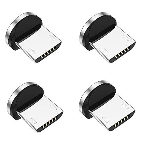 Adaptadores magnéticos de carga rápida 3A, conector de rotación 3 en 1, sin cable (plata, para micro USB)