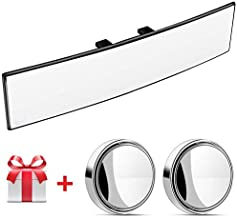 Wide Angle Rear View Mirror,12Inch Car Rear View Mirror,Easy Clip On Panoramic Rearview Mirror,Universal Anti Glare Rear View Mirror With 2Pcs Blindspot Mirrors For Use In Car, Suv, Truck