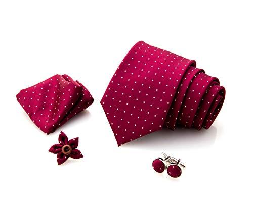 First Impact - Corbata de hombre + gemelos camisa hombre + funda de bolsillo para hombre + pin chaqueta hombre (juego de corbata para hombre 4 piezas) Caja regalo hombre Rojo Bordeaux blancos Pois