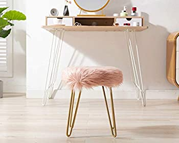 Guyou Pink Faux Fur Ottoman 15.9 Inch Height Makeup Stool Small Footrest with Hair Pink Gold Plating Legs for Bedroom/Living Room/Vanity