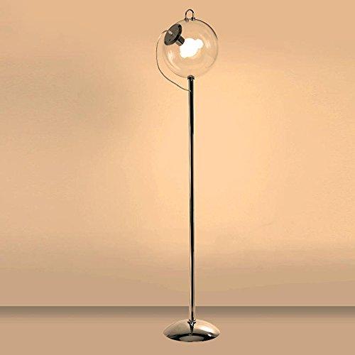 LED glazen vloerlamp, creatief ijzeren enkele kopbed leeslamp moderne minimalistische woonkamer slaapkamer zeepblaas staande lamp transparant glas lampenkap