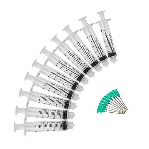 Shintop 10 Stück Spritze 5ml mit Nadeln Stumpfer 18G 3,8cm Dosiernadeln Einmalspritzen für Experimente, Industrielle Anwendungen